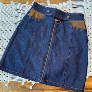 **70's Faux Suede & Denim Skirt**